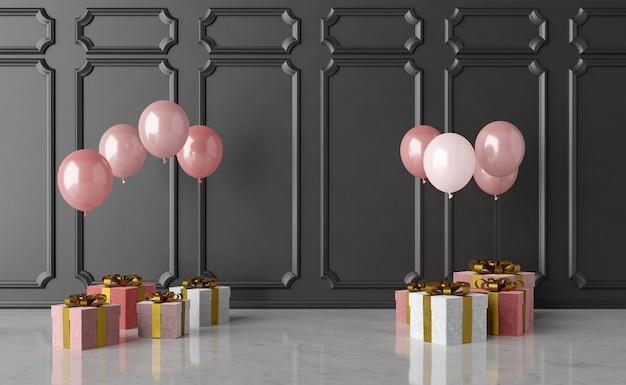 Ballongeschenke auf marmorböden und dunklen wänden