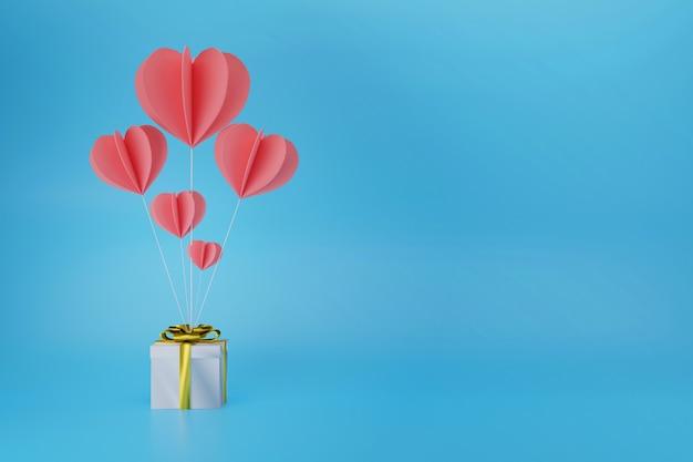 Ballonherz mit geschenkbox für liebes-valentinsgruß-konzept, 3d-illustration