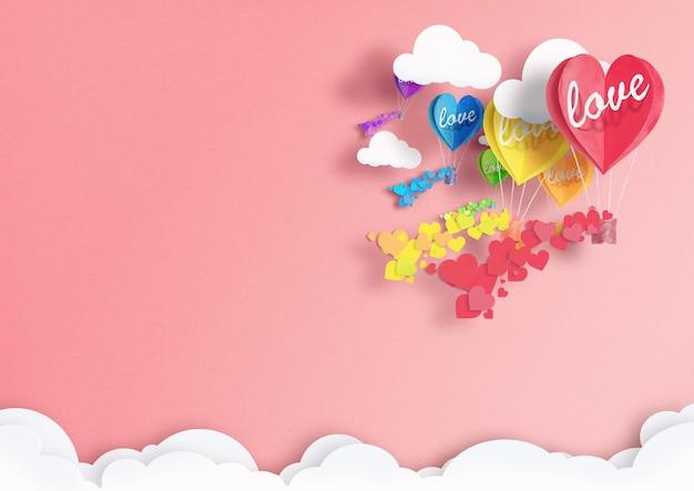 Ballons in form von herzen, die in lgbt-farben bemalt sind, die mit liebe in den wolken fliegen. konzept von freiheit und toleranz