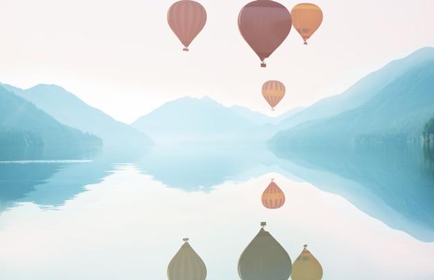 Ballons oben. reisen sie natürlichen hintergrund. reisefreiheit flug