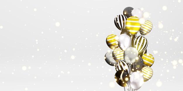 Ballons und bokeh-hintergrundbilder mehrfarbiges band besonderer tag hintergrund 3d-illustration