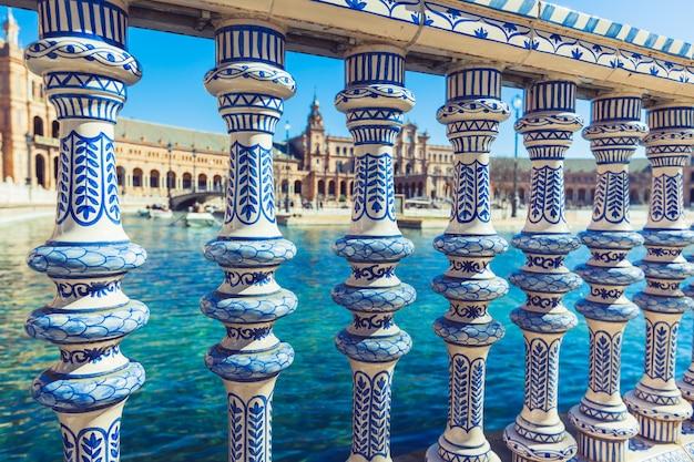 Balustraden-detail plaza de espana, sevilla, spanien