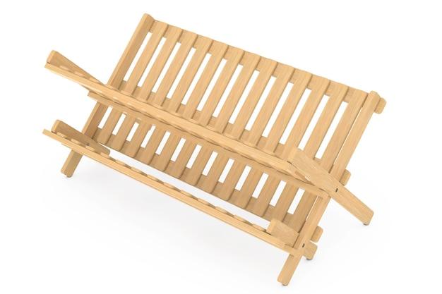 Bambus-küche-geschirr-trockengestell auf weißem hintergrund. 3d-rendering