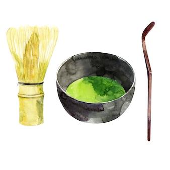 Bambus schneebesen und matcha tee
