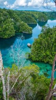 Bambushütte mitten in mangrove in der nähe von warikaf homestay, kabui bay und passage. gam island, west papuan, raja ampat, indonesien