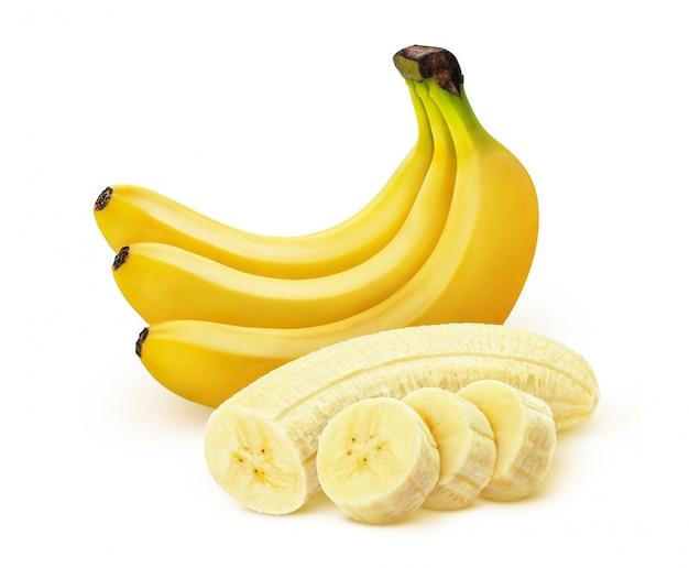 Banane. bündel bananen getrennt auf weißem hintergrund