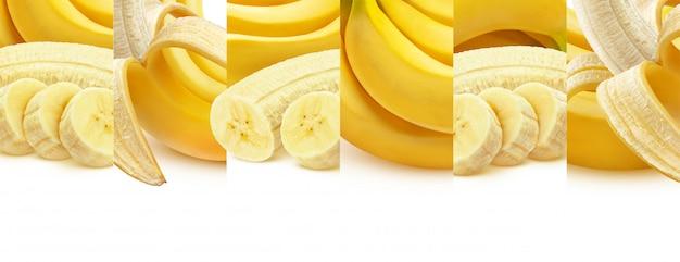 Banane isoliert auf weiß, ganz und in scheiben geschnitten