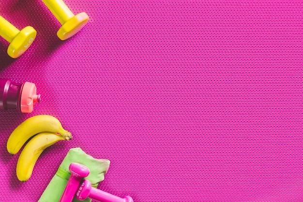 Bananen und sportartikel