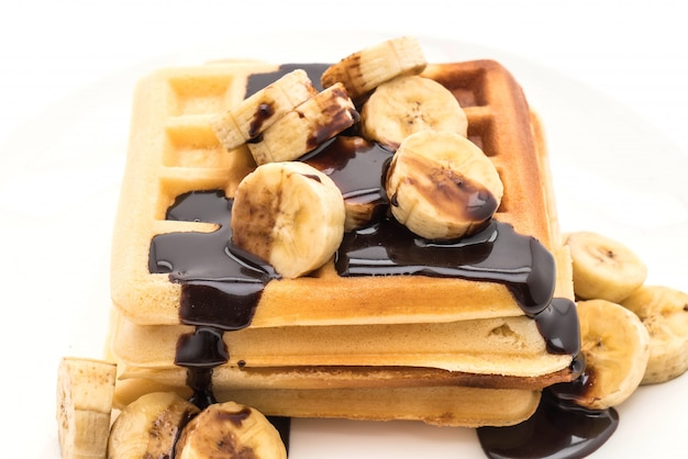 Bananenwaffel mit schokolade