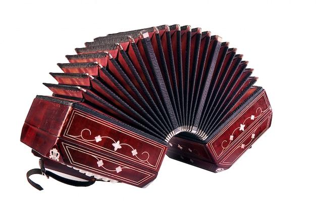 Bandoneon, tangoinstrument, lokalisiert auf weiß