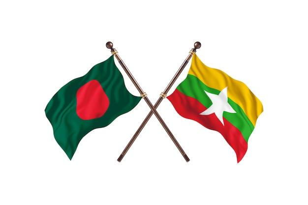Bangladesch gegen burma flags hintergrund