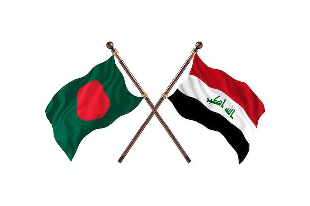 Bangladesch gegen irak-flaggen-hintergrund