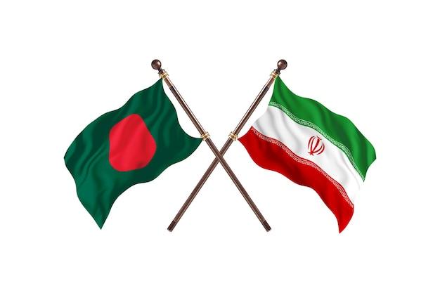 Bangladesch gegen iran flaggen hintergrund