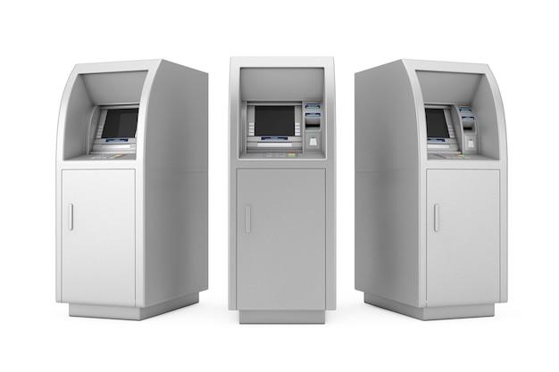 Bank cash atm-maschine auf weißem hintergrund. 3d-rendering