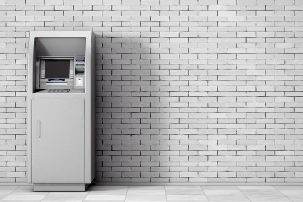 Bank-geldautomat vor der mauer. 3d-rendering