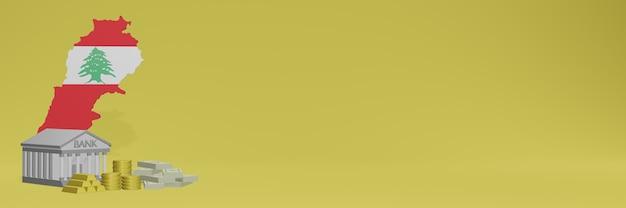Bank mit goldmünzen im libanon für social-media-tv und website-hintergrundabdeckungen können verwendet werden, um daten oder infografiken in 3d-rendering anzuzeigen.