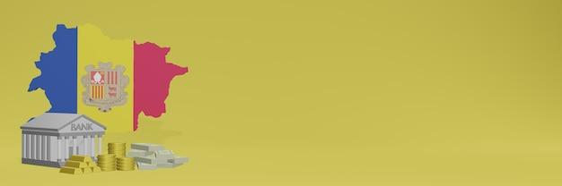 Bank mit goldmünzen in andora für social-media-tv und website-hintergrundabdeckungen können verwendet werden, um daten oder infografiken in 3d-rendering anzuzeigen.