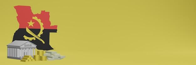 Bank mit goldmünzen in angola für social-media-tv und website-hintergrundabdeckungen können verwendet werden, um daten oder infografiken in 3d-rendering anzuzeigen.