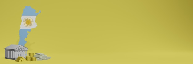 Bank mit goldmünzen in argentinien für social-media-tv und website-hintergrundcover können verwendet werden, um daten oder infografiken in 3d-rendering anzuzeigen.
