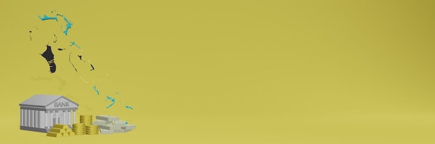 Bank mit goldmünzen in bahama für social-media-tv und website-hintergrundabdeckungen können verwendet werden, um daten oder infografiken in 3d-rendering anzuzeigen.