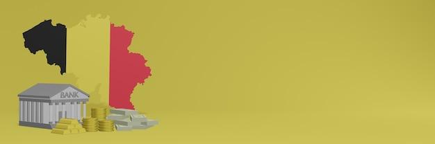 Bank mit goldmünzen in belgien für social-media-tv und website-hintergrundabdeckungen können verwendet werden, um daten oder infografiken in 3d-rendering anzuzeigen.