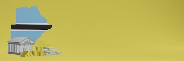 Bank mit goldmünzen in botswana für social-media-tv und website-hintergrundabdeckungen können verwendet werden, um daten oder infografiken in 3d-rendering anzuzeigen.
