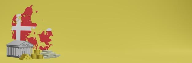 Bank mit goldmünzen in dänemark für social-media-tv- und website-hintergrundabdeckungen können verwendet werden, um daten oder infografiken in 3d-rendering anzuzeigen.