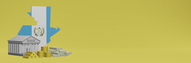 Bank mit goldmünzen in guatemala für social-media-tv und website-hintergrundabdeckungen können verwendet werden, um daten oder infografiken in 3d-rendering anzuzeigen. Premium Fotos