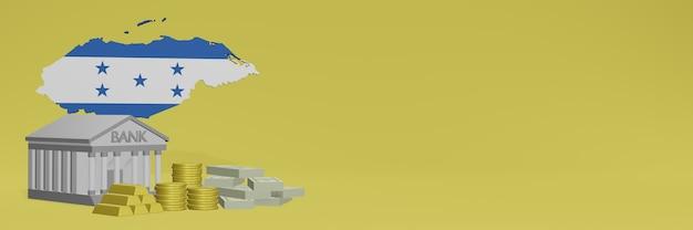 Bank mit goldmünzen in honduras für social-media-tv und website-hintergrundabdeckungen können verwendet werden, um daten oder infografiken in 3d-rendering anzuzeigen. Premium Fotos
