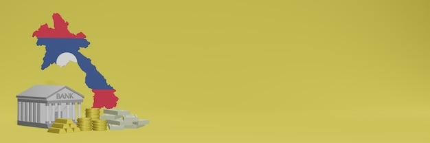 Bank mit goldmünzen in laos für social-media-tv und website-hintergrundabdeckungen können verwendet werden, um daten oder infografiken in 3d-rendering anzuzeigen.