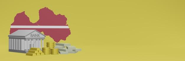 Bank mit goldmünzen in lettland für social-media-tv und website-hintergrundabdeckungen können verwendet werden, um daten oder infografiken in 3d-rendering anzuzeigen.