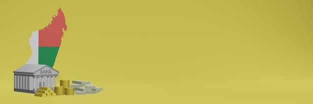 Bank mit goldmünzen in madagscar für social-media-tv und website-hintergrundabdeckungen können verwendet werden, um daten oder infografiken in 3d-rendering anzuzeigen.