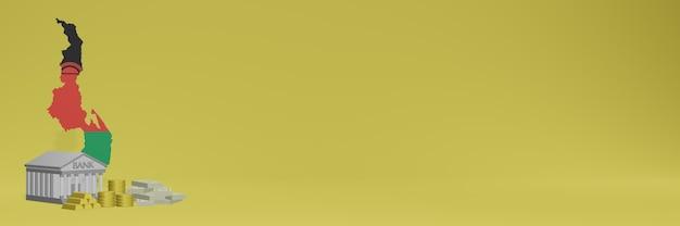 Bank mit goldmünzen in malawi für social-media-tv und website-hintergrundabdeckungen können verwendet werden, um daten oder infografiken in 3d-rendering anzuzeigen.