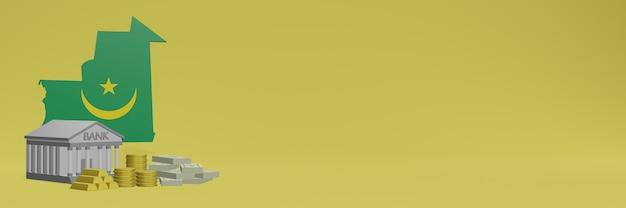Bank mit goldmünzen in mauretanien für social-media-tv und website-hintergrundabdeckungen können verwendet werden, um daten oder infografiken in 3d-rendering anzuzeigen. Premium Fotos