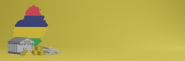 Bank mit goldmünzen in mauritius für social-media-tv und website-hintergrundabdeckungen können verwendet werden, um daten oder infografiken in 3d-rendering anzuzeigen.