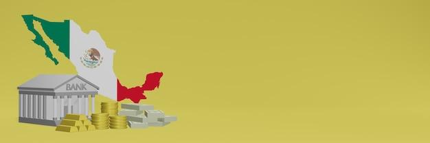 Bank mit goldmünzen in mexiko für social-media-tv und website-hintergrundabdeckungen können verwendet werden, um daten oder infografiken in 3d-rendering anzuzeigen.