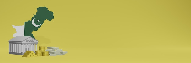 Bank mit goldmünzen in pakistan für social-media-tv und website-hintergrundabdeckungen können verwendet werden, um daten oder infografiken in 3d-rendering anzuzeigen.