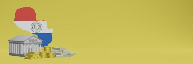 Bank mit goldmünzen in paraguay für social-media-tv und website-hintergrundabdeckungen können verwendet werden, um daten oder infografiken in 3d-rendering anzuzeigen.