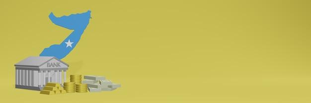 Bank mit goldmünzen in somalia für social-media-tv und website-hintergrundabdeckungen können verwendet werden, um daten oder infografiken in 3d-rendering anzuzeigen.