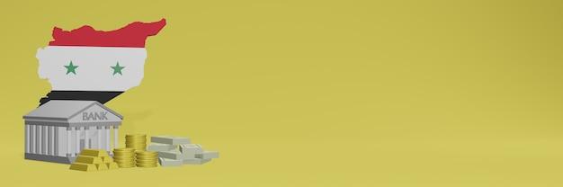 Bank mit goldmünzen in syiria für social-media-tv und website-hintergrundabdeckungen können verwendet werden, um daten oder infografiken in 3d-rendering anzuzeigen.