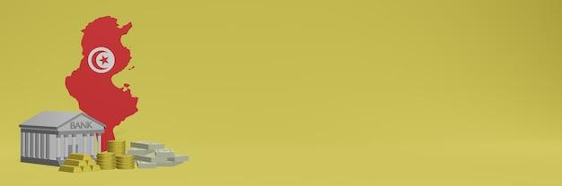 Bank mit goldmünzen in tunesien für social-media-tv und website-hintergrundabdeckungen können verwendet werden, um daten oder infografiken in 3d-rendering anzuzeigen.