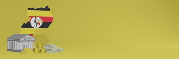 Bank mit goldmünzen in uganda für social-media-tv- und website-hintergrundabdeckungen können verwendet werden, um daten oder infografiken in 3d-rendering anzuzeigen.