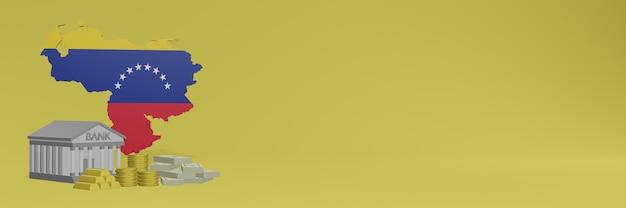 Bank mit goldmünzen in venezuela für social-media-tv und website-hintergrundabdeckungen können verwendet werden, um daten oder infografiken in 3d-rendering anzuzeigen.