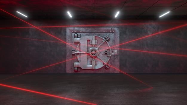 Bank von einem lasersystem bewacht