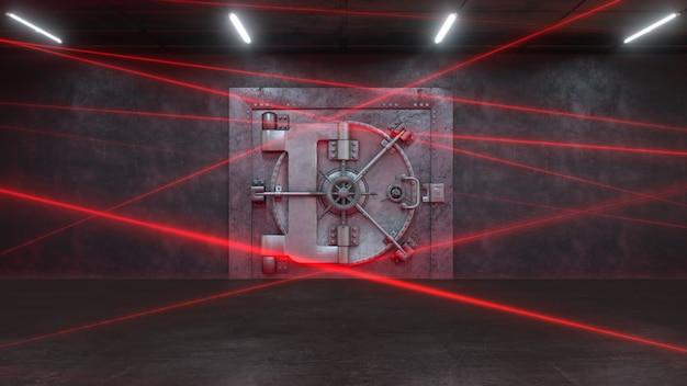 Bankentür von einem lasersystem bewacht