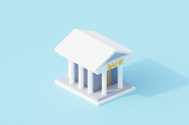 Bankgebäude einzelnes isoliertes objekt. 3d-rendering