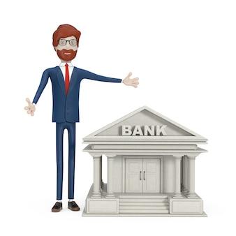Banking-konzept. cartoon-charakter-geschäftsmann in der nähe von bankgebäude auf weißem hintergrund. 3d-rendering