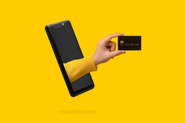 Bankkarte in der hand ragt aus dem smartphone-bildschirm heraus