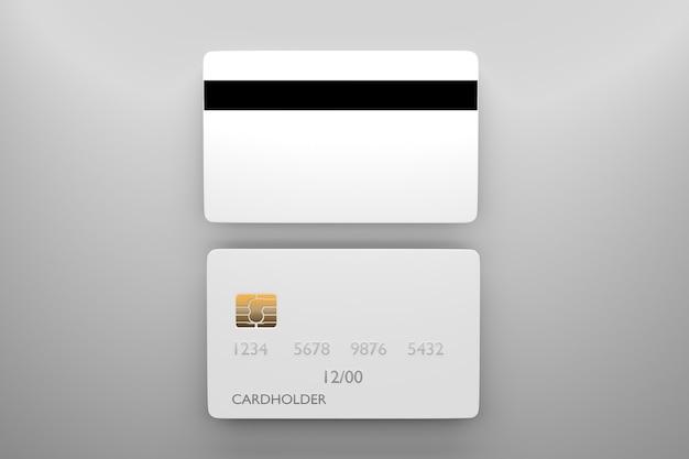 Bankkartenmodell mit rückseite. leere kreditkartenvorlage für ihr design. 3d-rendering.