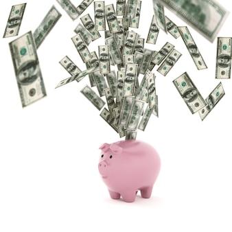 Banknoten aus einem sparschwein. konzept des wirtschaftlichen wohlstands. 3d-rendering
